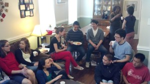 Hanging out at one of our brunches.